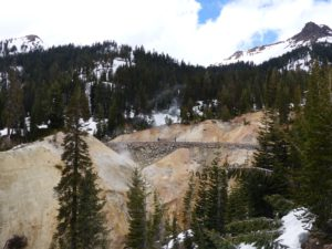 John hiking through the sulphur works at Lassen Volcanic NP - boiling, steamy and smelly!